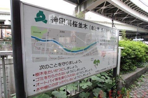 神田川桜並木案内板