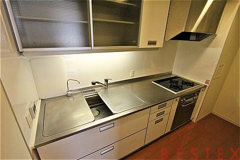 大型ガス3口システムキッチン